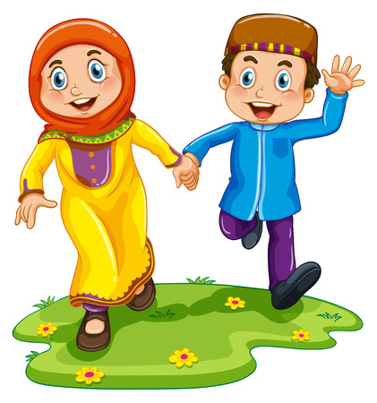 Muslim boy and girl holding hands Illustration