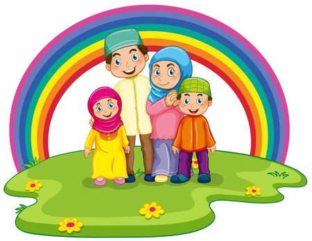 Muslim family standing on the lawn with rainbow background