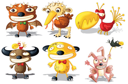 Six different monsters with funny looking Vector