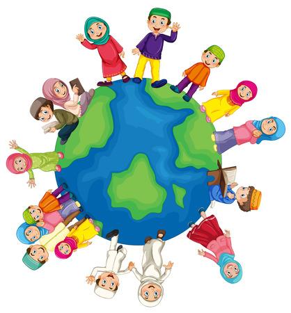 planeten: Viele muslimische rund um die Welt Illustration