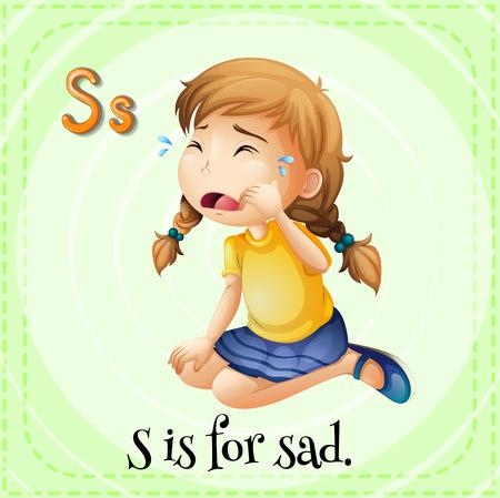 niños tristes: Flashcard letra S es para triste