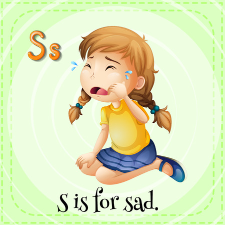 child s: Flashcard letter S is for sad