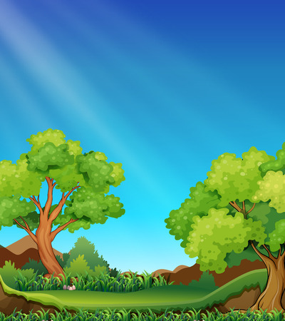 Forest scence at daytime with lawn Illustration