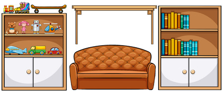 wooden doll: Different kind of furniture and toys Illustration