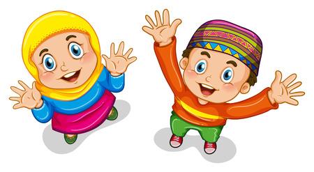 Close up muslimische Jungen und Mädchen im Kostüm