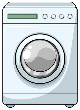 Close up washing machine with front door Ilustrace