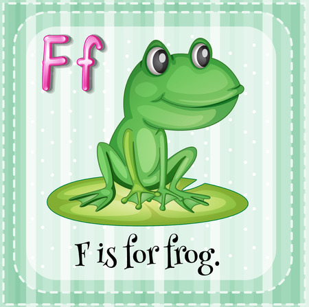 linguistic: Flashcard letter F is for frog