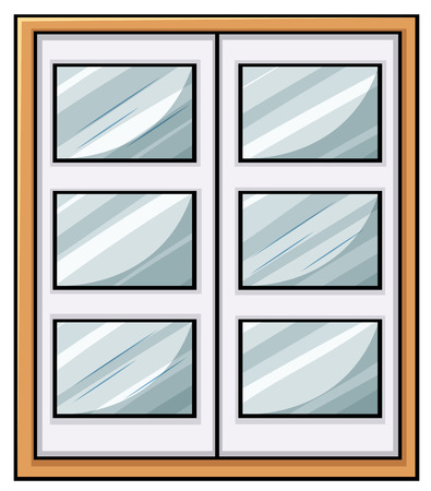 Close up classic wooden window Vector