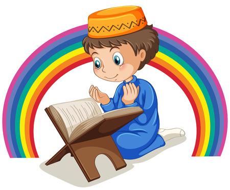 虹の背景と祈るイスラム教徒の少年を閉じる