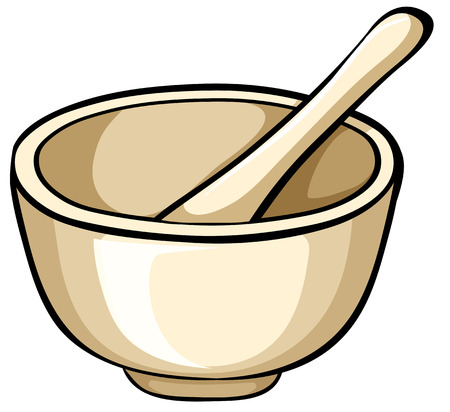 traditinal: Close up mortar with bowl and spoon