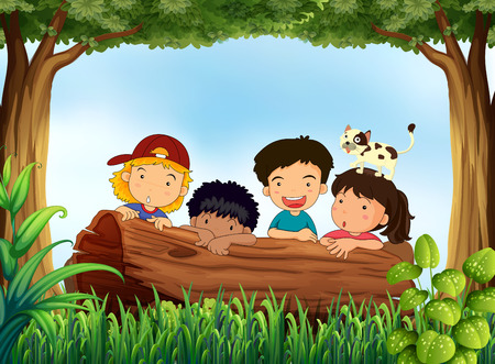 Children hiding behind log in the forest
