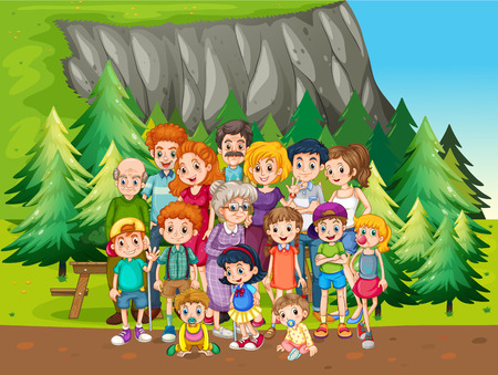 family: Family reunion in the national park Illustration