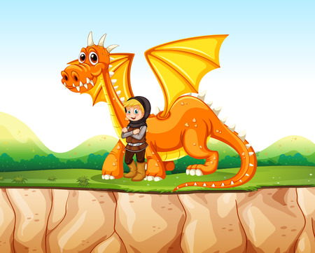 fairytale character: Knight standing next to the dragon