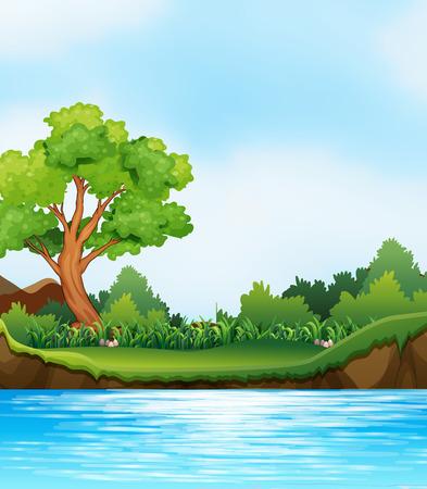 Scene of river and river bank Illustration
