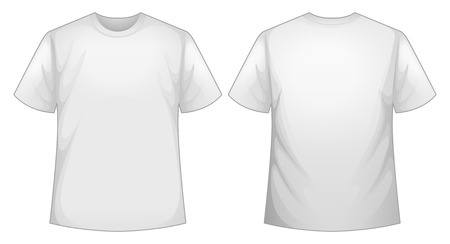 short back: Front and back view of white shirt