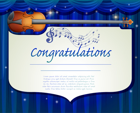 talented: Certificate template design with music background