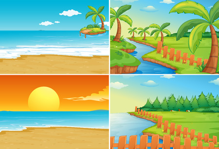 cartoon bank: Nature scenes of beaches and river