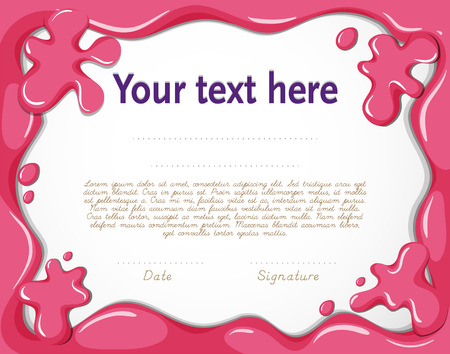 pink paint: Certificate template with pink paint backgorund Illustration