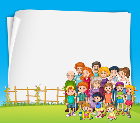 Banner with family members in the background Vector