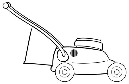 bage: Close up lawnmower with garbage bag