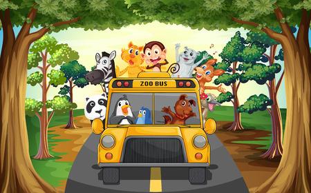 Animales que montan en un autobús zoológico Vectores