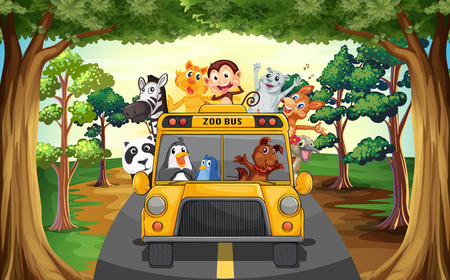 cartoon zoo: Animals riding on a zoo bus