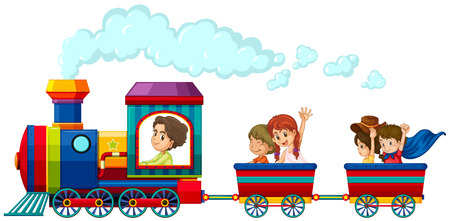 tren caricatura: Los niños que viajan en el tren Vectores