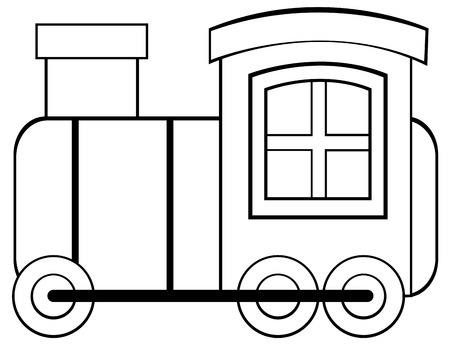 toy train: Toy train with chimney and wheels Illustration