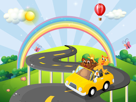 convertible car: Animals riding convertible car with rainbow background