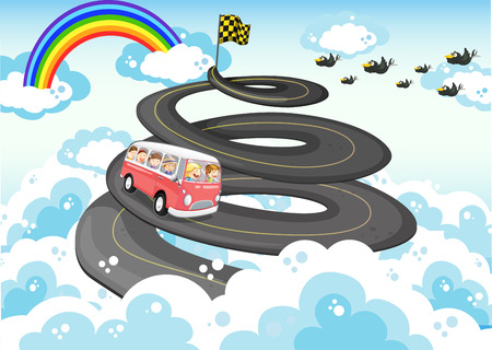 rainbow sky: Road trip with sky and rainbow background