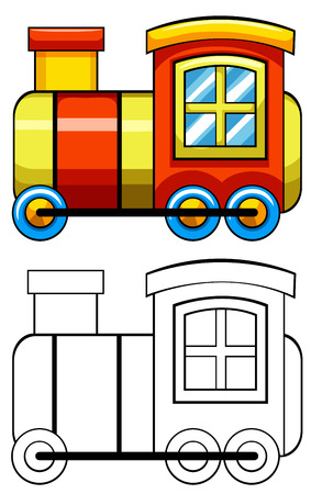 close up chimney: Close up doodles toy train Illustration