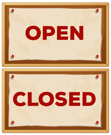 Open and closed signs on the wall Vector