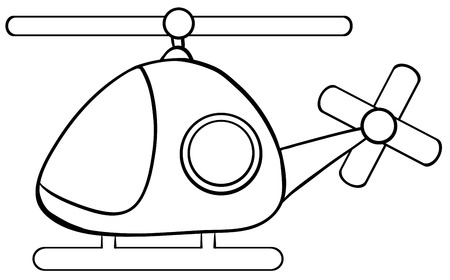 simple line drawing: Close up helicopter in simple design