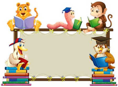 gusano caricatura: Marco de madera con animales la lectura de libros a su alrededor Vectores