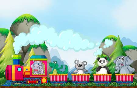 Many animals riding on the train in the park