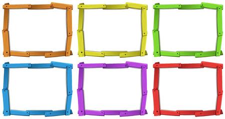 木製フレームの 6 種類の色  イラスト・ベクター素材