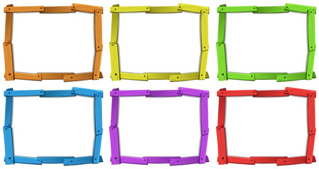 Six different colors of wooden frames Stock Illustratie