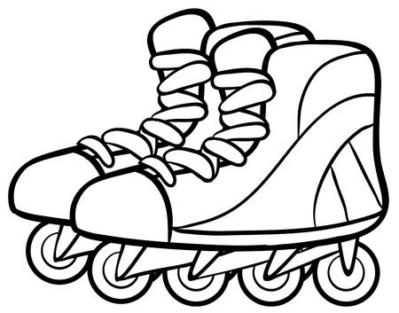 rollers: Pair of rollerskates in simple design