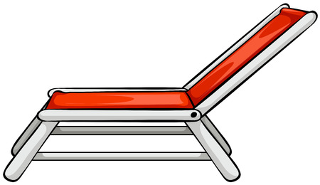 outdoor seating: Close up red beach chair Illustration