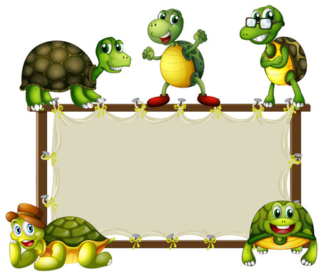 Turtles around the wooden frame