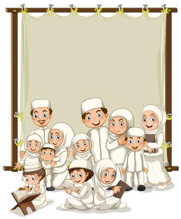 femmes muslim: Famille musulmane et cadre en bois Illustration