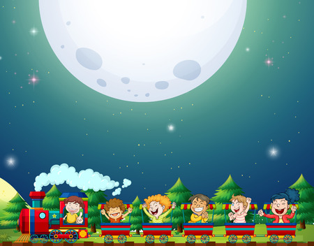 luna caricatura: Viaje en tren por la noche con luna llena de fondo