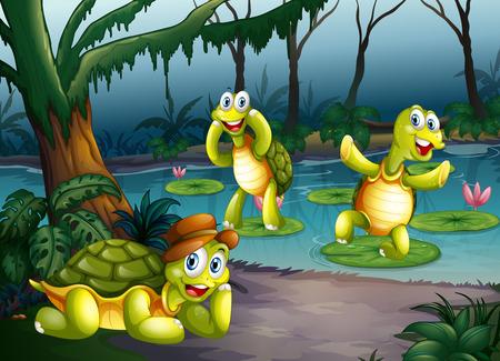 연못에 살고있는 세 거북 일러스트