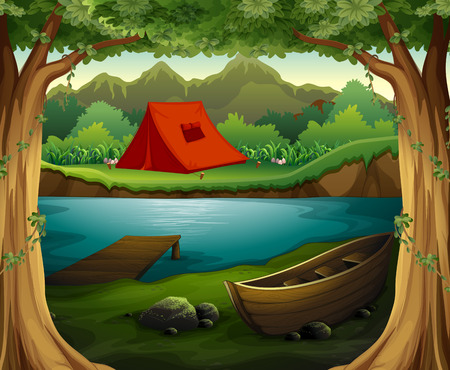 forest clipart: Scene of camping ground in the deep forest