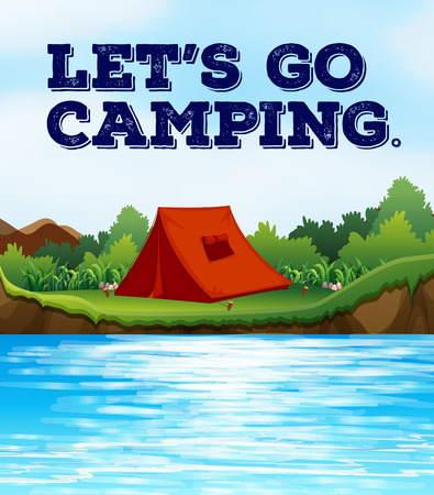 campground: Camping tent by the river Illustration