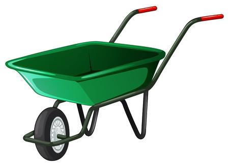 wheel barrow: Close up classic green wheel barrow