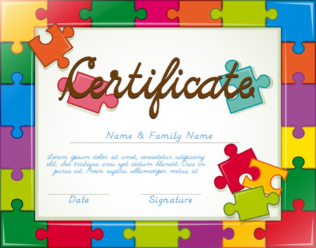 Certificate with jigsaw puzzle frame Illustration