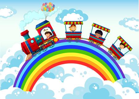 tren caricatura: Tren a caballo por el arco iris en el cielo Vectores