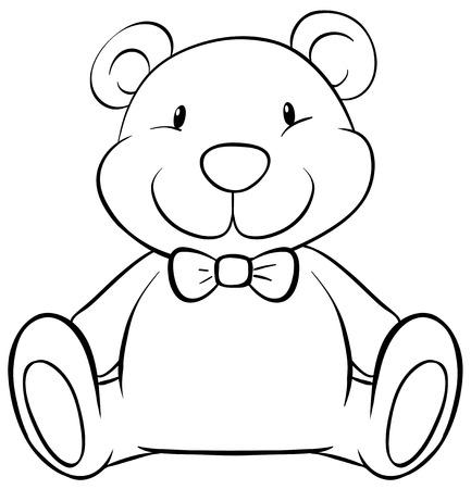 Close up cute teddy bear Illustration