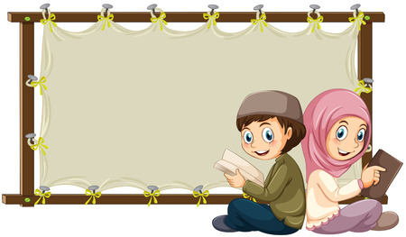 writing paper: Muslims reading books and blank banner Illustration